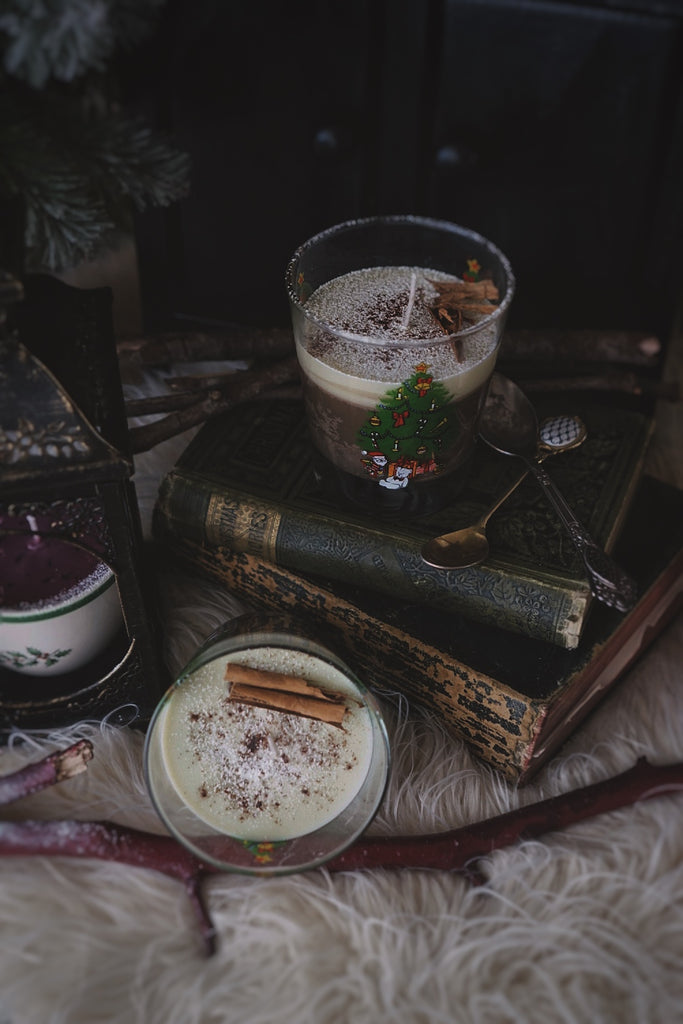 Limited Edition: Christmas Morning Creature Layered Candle + Vintage Holiday Glass Cup