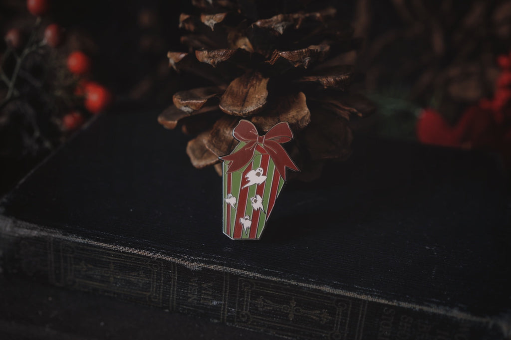 Haunted Mansion Holiday Coffin Present Enamel Pin