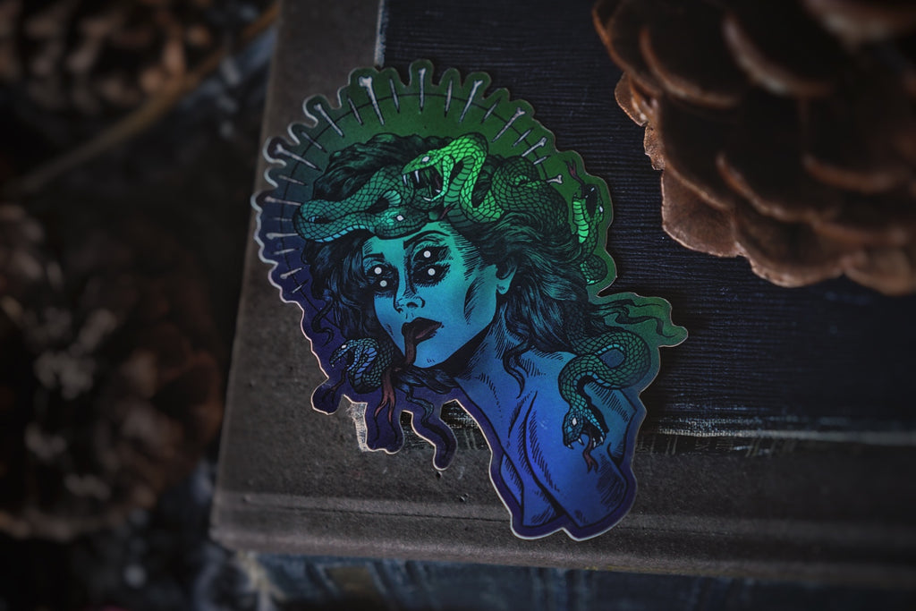 Glowing Medusa | Green Holographic Sticker