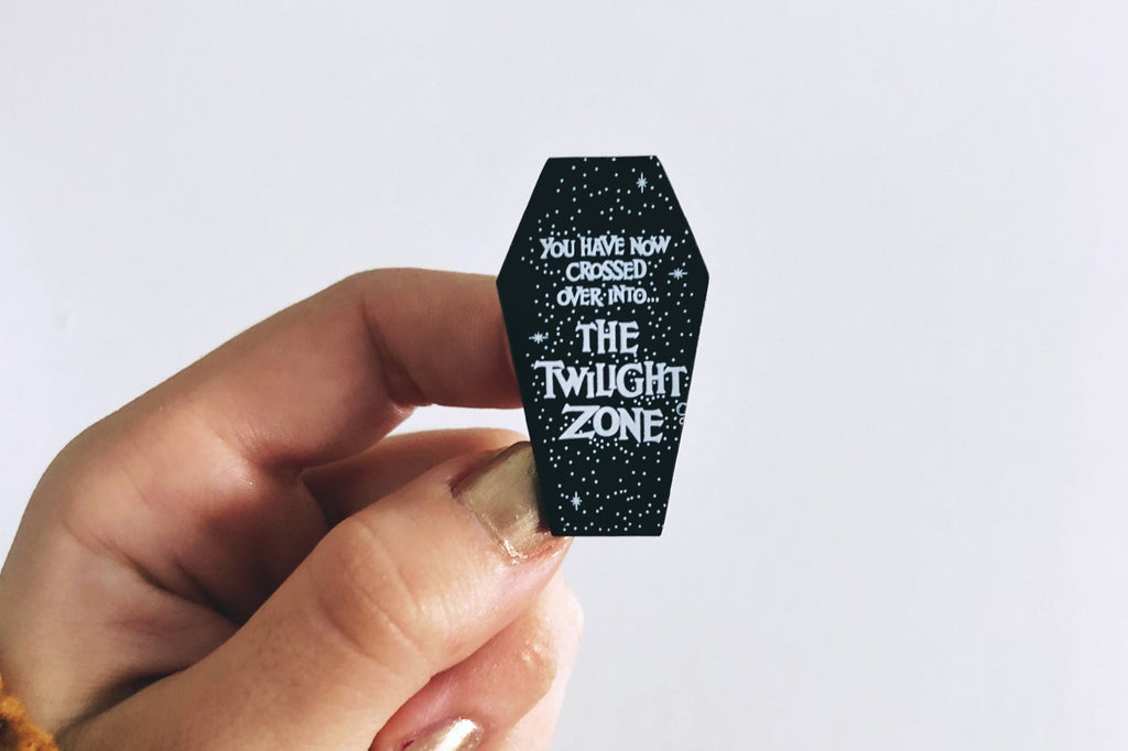 Twilight Zone Coffin Enamel Pin