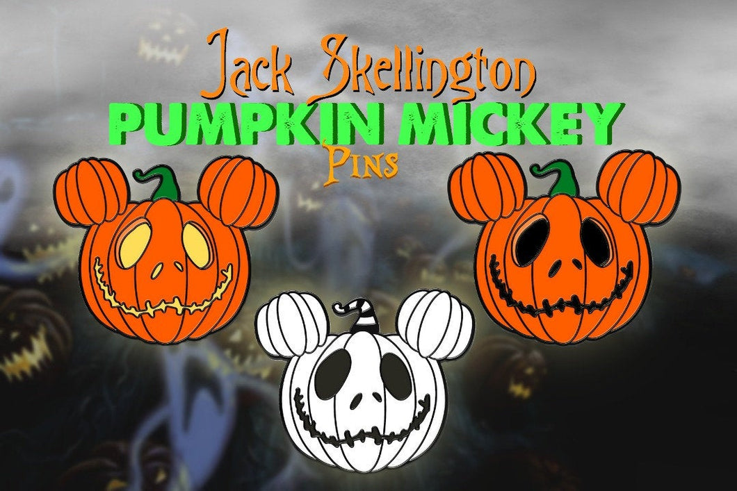 Jack Skellington Pumpkin Mickey Enamel Pin