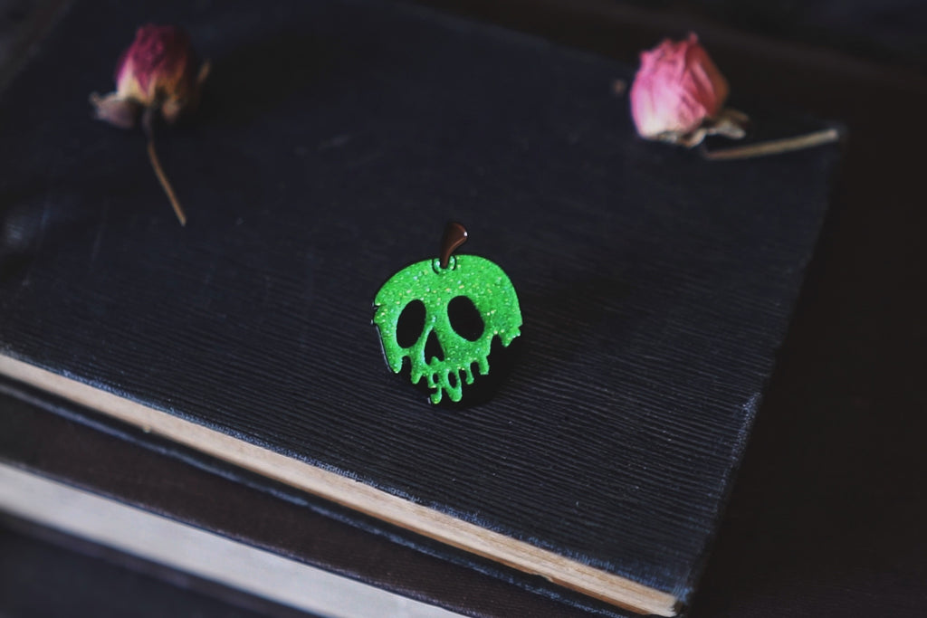 Snow White Poison Apple Glitter Enamel Pins