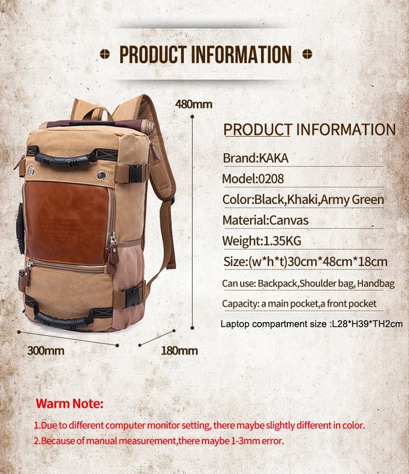 KAKA Vintage Canvas Travel Backpack