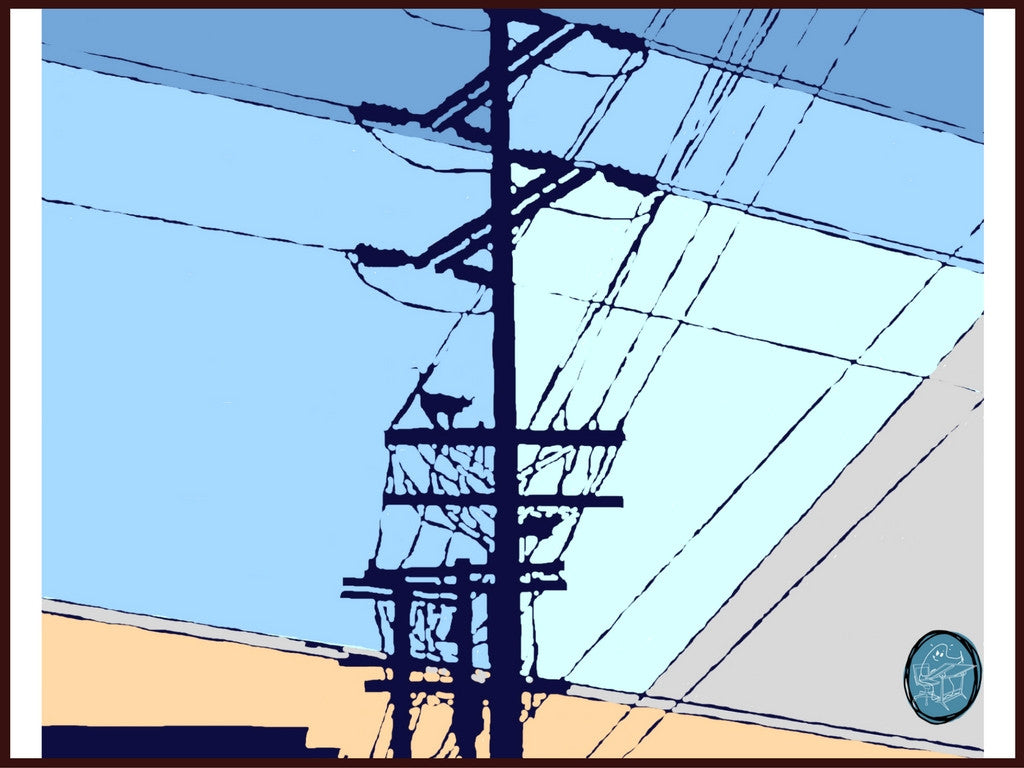A curious cat on the telephone lines silhouetted against a twilight city skyline in this moody, evocative digital painting by Richard Kaponas