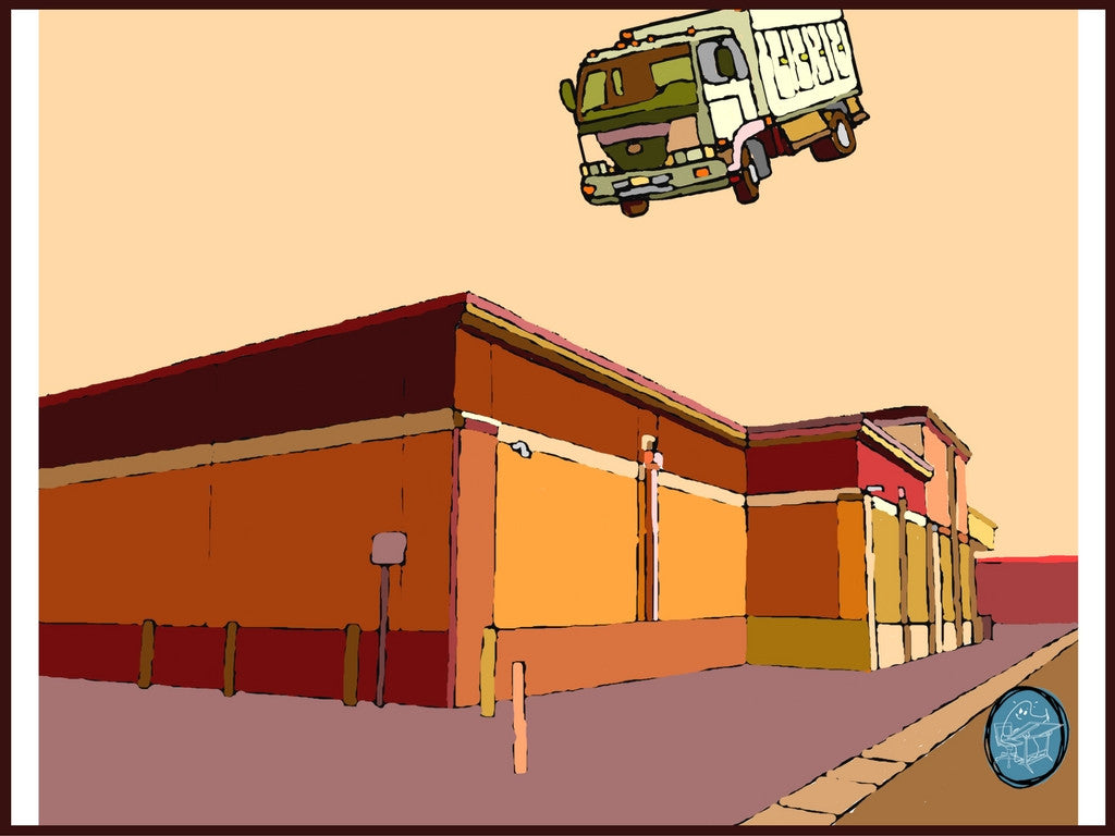 From a series of funny and surreal prints by Richard Kaponas showing everyday objects behaving badly. In this, a truck hangs in the sky, bathed in mellow gold.