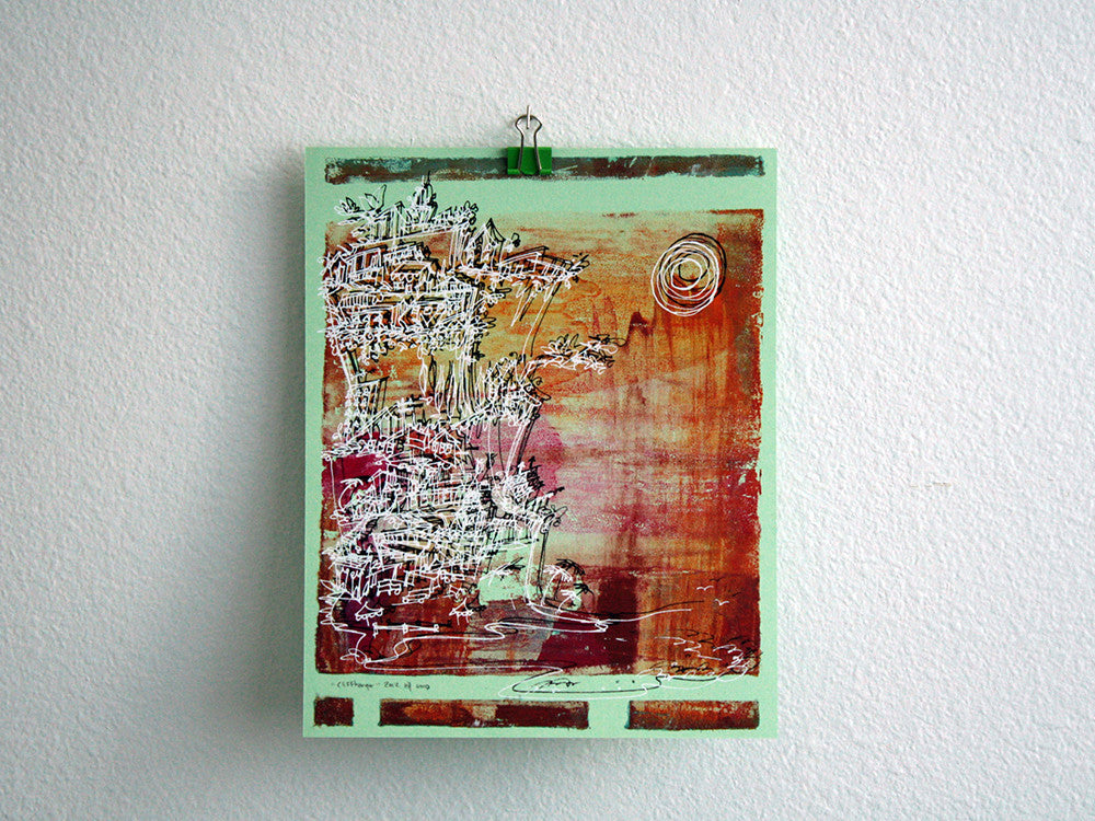 Cliffhanger monoprint in hot summer hues by Kathryn DiLego - Haunted House of Projects - 1