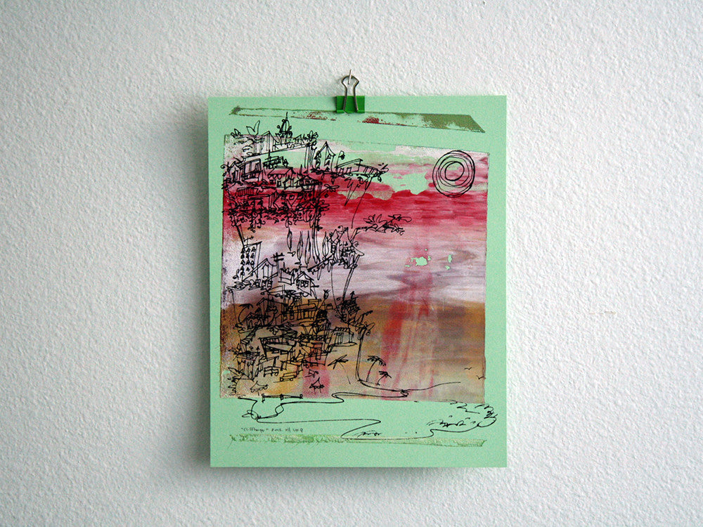 Cliffhanger monoprint in Neopolitan colors by Kathryn DiLego - Haunted House of Projects - 2