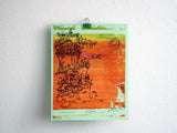 Cliffhanger monoprint in bright orange by Kathryn DiLego - Haunted House of Projects - 1