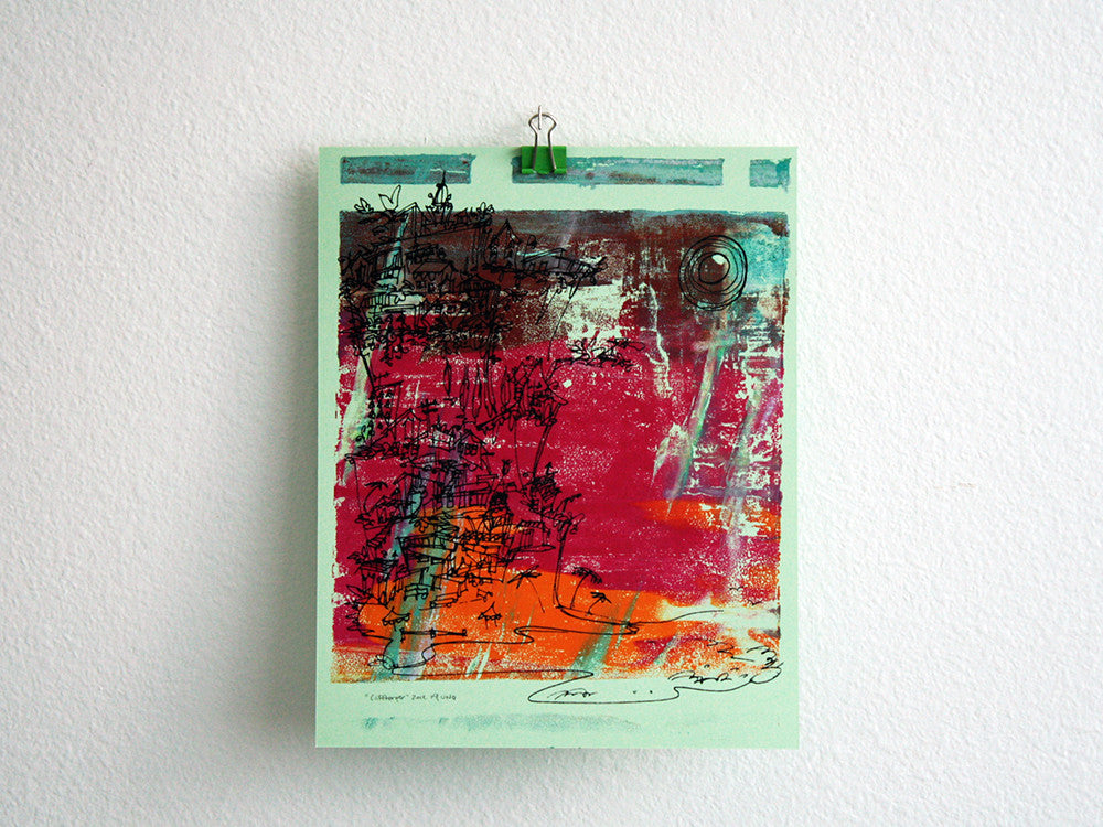 Cliffhanger monoprint in rani pink, marigold orange and mint by Kathryn DiLego - Haunted House of Projects - 1