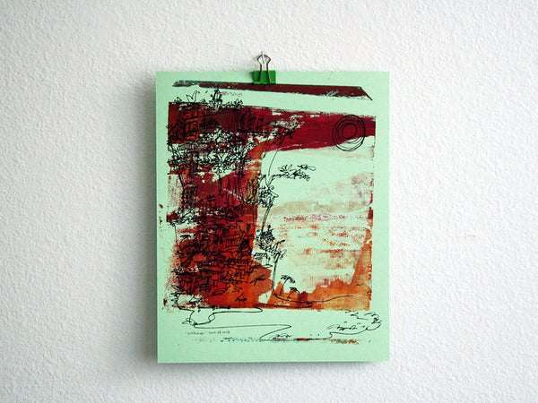 Cliffhanger monoprint in blood red sky colors by Kathryn DiLego - Haunted House of Projects - 1