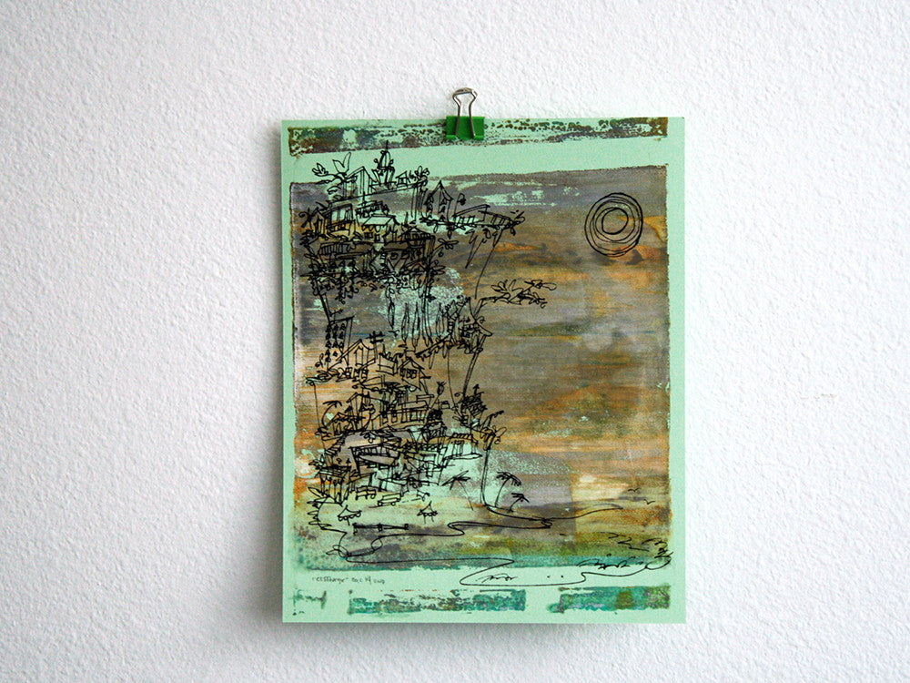 Cliffhanger monoprint in moody neutrals by Kathryn DiLego - Haunted House of Projects - 2