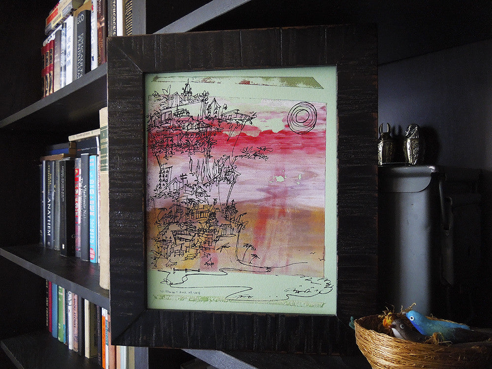 Cliffhanger monoprint in Neopolitan colors by Kathryn DiLego - Haunted House of Projects - 1