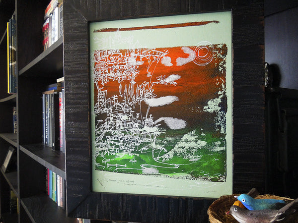 Cliffhanger monoprint in neon orange and green by Kathryn DiLego - Haunted House of Projects - 1