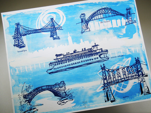 Five Boroughs #28 original handpulled screenprint by Kathryn DiLego