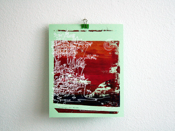 Cliffhanger monoprint in red and purple by Kathryn DiLego - Haunted House of Projects - 1