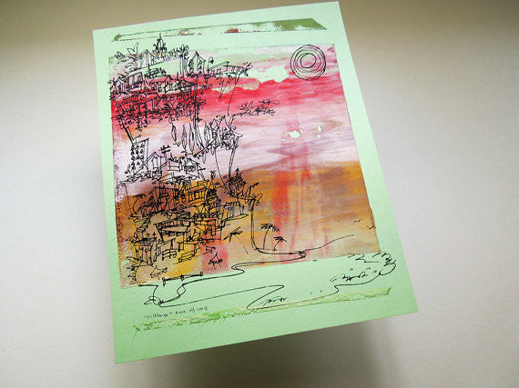 Cliffhanger monoprint in Neopolitan colors by Kathryn DiLego - Haunted House of Projects - 3