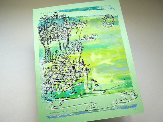 Cliffhanger monoprint in green and yellow by Kathryn DiLego - Haunted House of Projects - 1