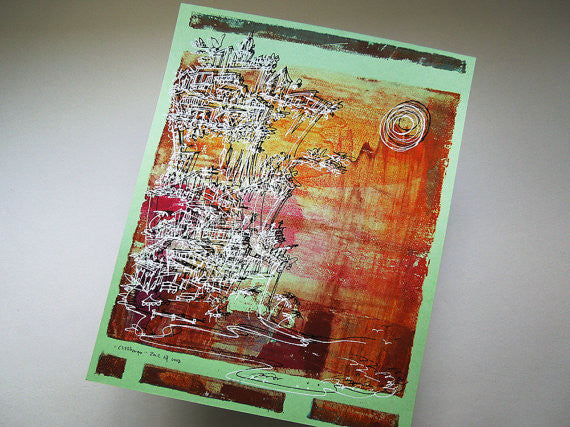 Cliffhanger monoprint in hot summer hues by Kathryn DiLego - Haunted House of Projects - 2