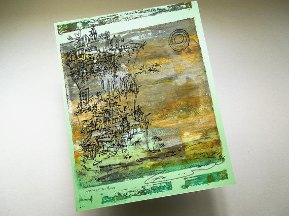 Cliffhanger monoprint in moody neutrals by Kathryn DiLego - Haunted House of Projects - 3