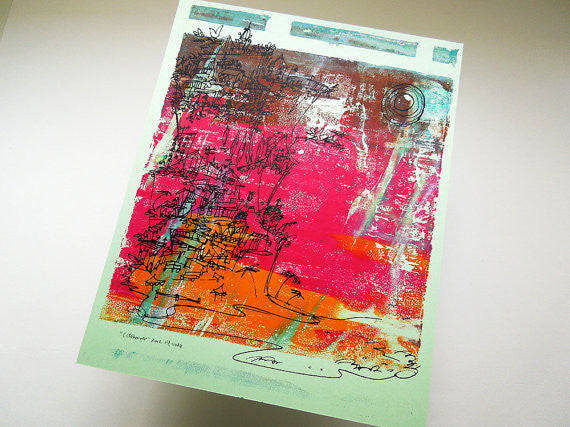 Cliffhanger monoprint in rani pink, marigold orange and mint by Kathryn DiLego - Haunted House of Projects - 2