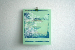 Cliffhanger monoprint in pool blue by Kathryn DiLego - Haunted House of Projects - 1
