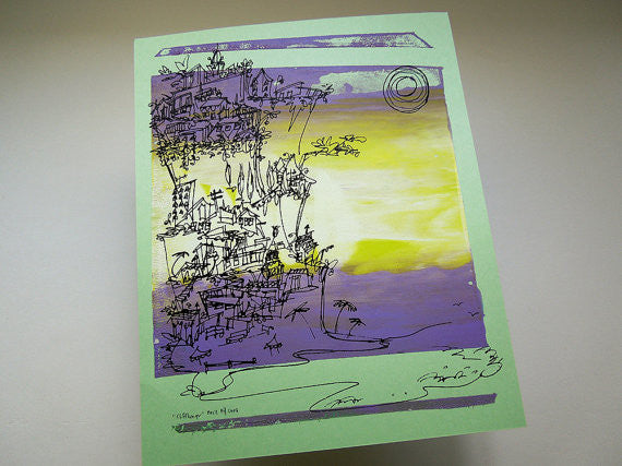 Cliffhanger monoprint in yellow and purple by Kathryn DiLego - Haunted House of Projects - 2