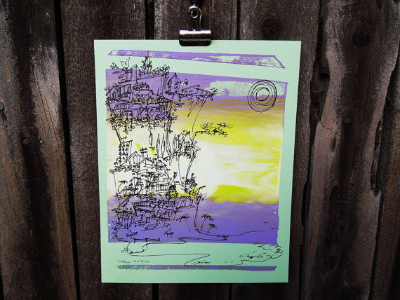 Cliffhanger monoprint in yellow and purple by Kathryn DiLego - Haunted House of Projects - 1