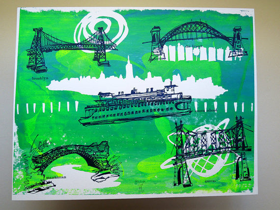 Five Boroughs #05 original handpulled screenprint by Kathryn DiLego - Haunted House of Projects - 1