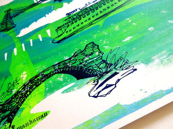 Five Boroughs #08 original handpulled screenprint by Kathryn DiLego - Haunted House of Projects - 2