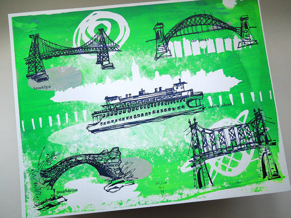 Five Boroughs #08 original handpulled screenprint by Kathryn DiLego - Haunted House of Projects - 1