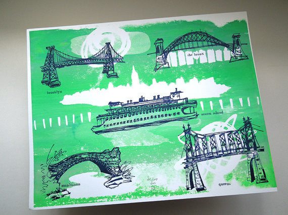 Five Boroughs #09 original handpulled screenprint by Kathryn DiLego - Haunted House of Projects - 1