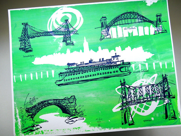 Five Boroughs #12 original handpulled screenprint by Kathryn DiLego