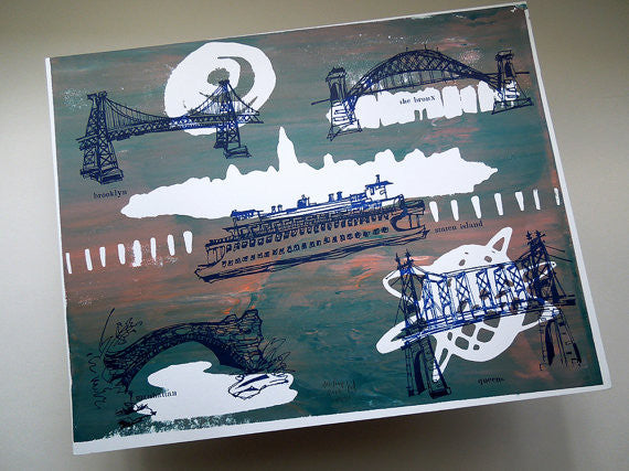 Five Boroughs #44 original handpulled screenprint by Kathryn DiLego - Haunted House of Projects - 1