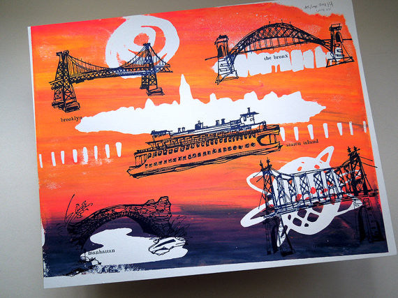 Five Boroughs #57 original handpulled screenprint by Kathryn DiLego - Haunted House of Projects - 1