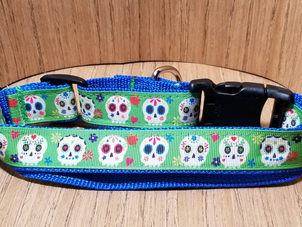 Green Sugar Skulls Martingale Dog Collar