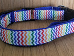 Collar/ Large/ Blue Rainbow Chevron