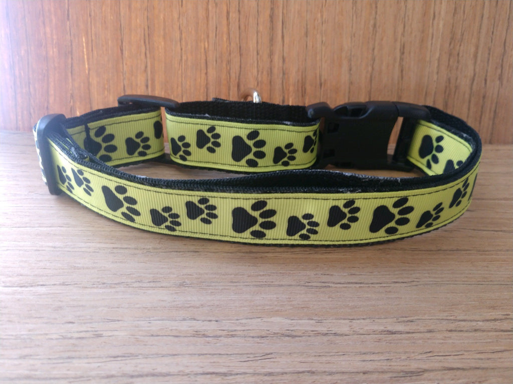 Yellow/Black Paw Print Martingale Dog Collar