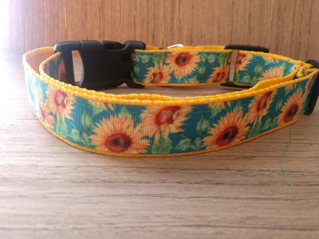 Green/Yellow Sunflowers Martingale Dog Collar