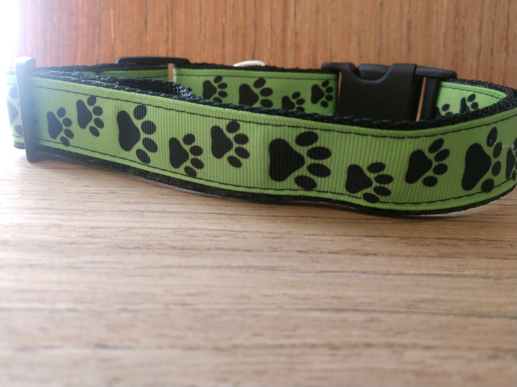Green Paw Prints Martingale Dog Collar