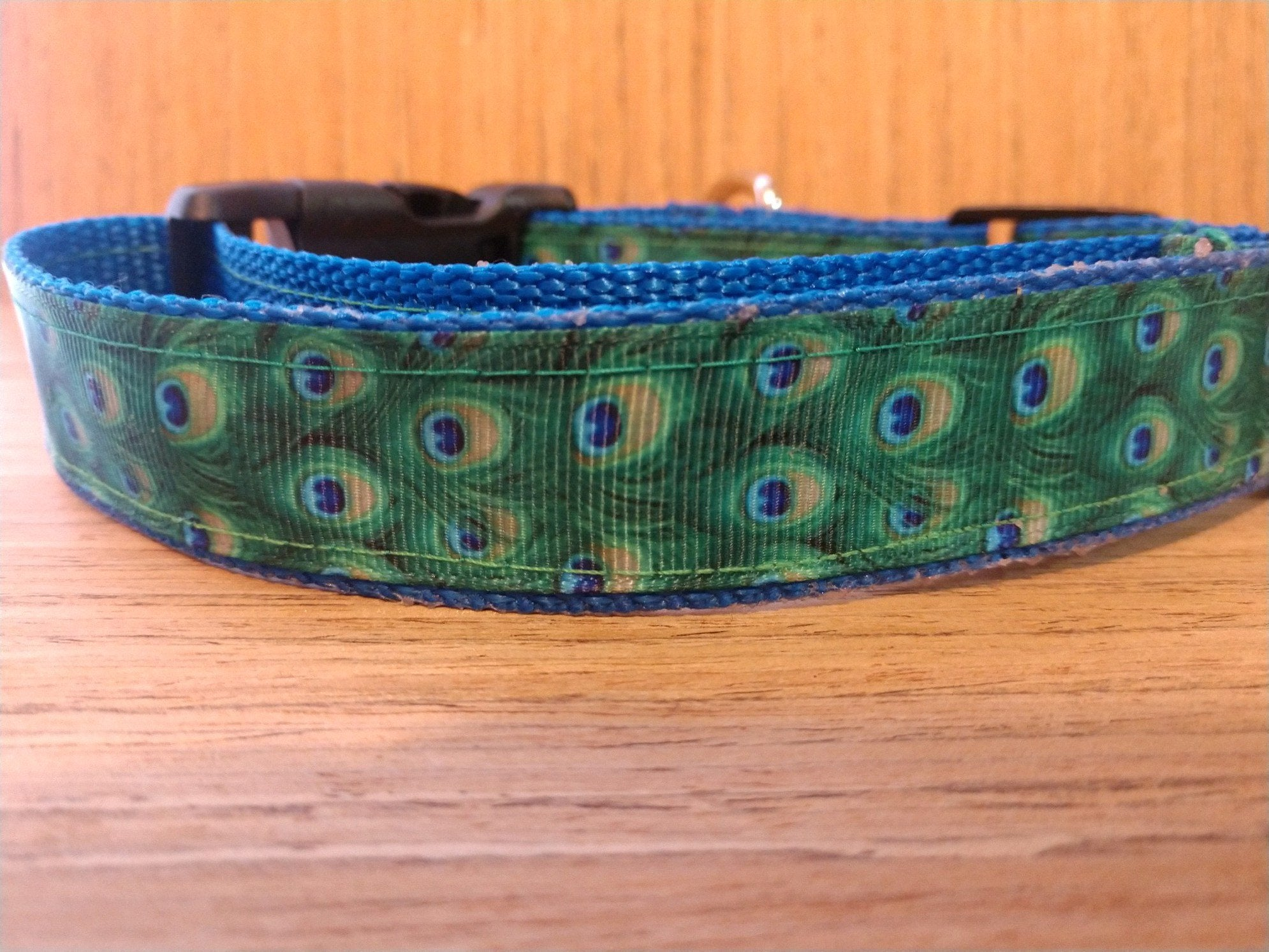 Peacock on Blue Martingale Dog Collar