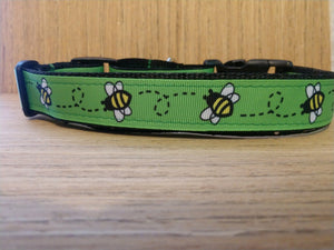 Green Bumble Bee Martingale Dog Collar