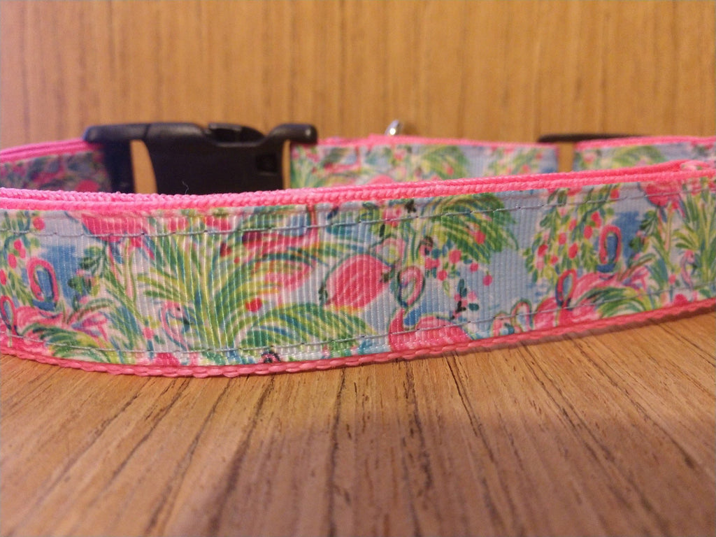 Pink and Blue Flamingo Martingale Dog Collar