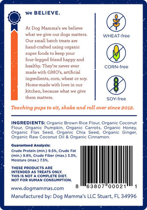 Pumpkin Snaps Organic Dog Treats - 8 oz