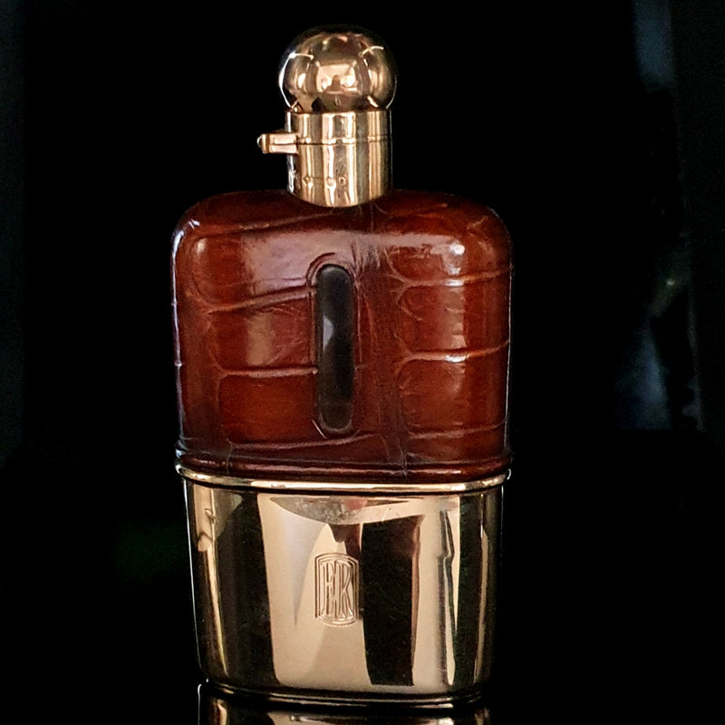 Sampson Mordan 9ct Solid Gold Hip Flask 1923