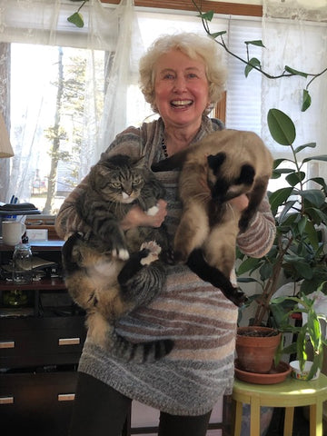 Olga Goldberger with her cats