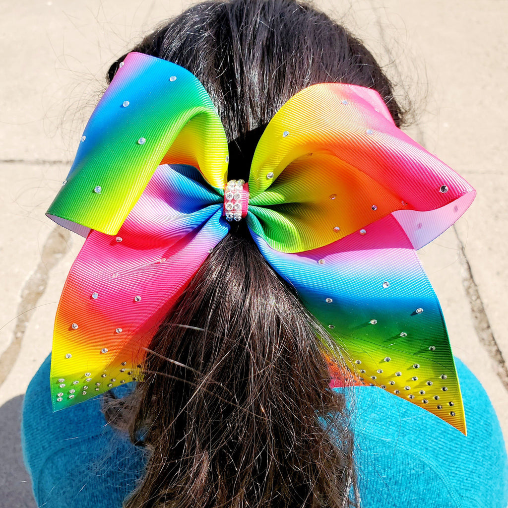 Cheer Rainbow + clear stones  Bow for Girls 7""