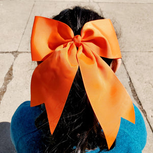 Cheer Orange Bow for Girls 7""