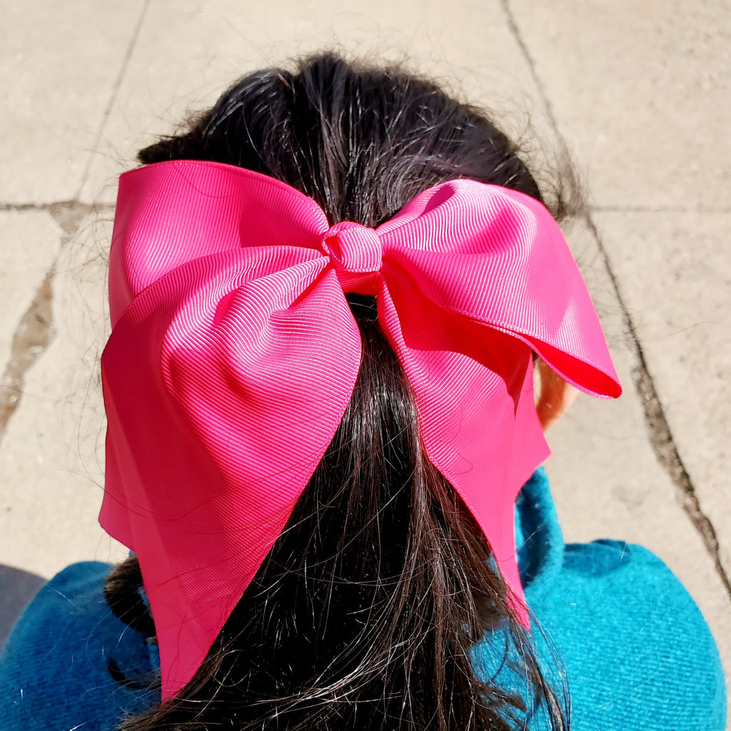 Cheer Hot Pink  Bow for Girls 7""