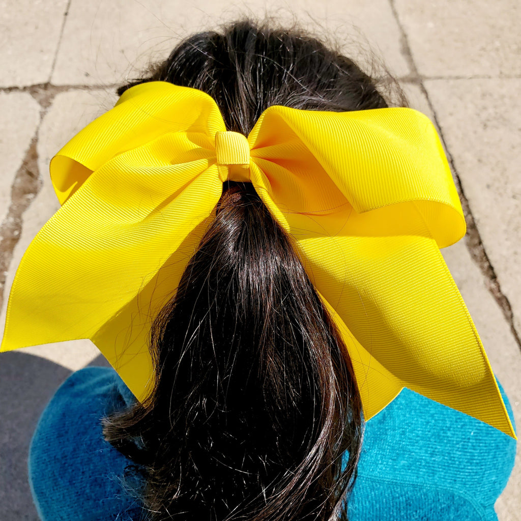Cheer Yellow Bow for Girls 7""