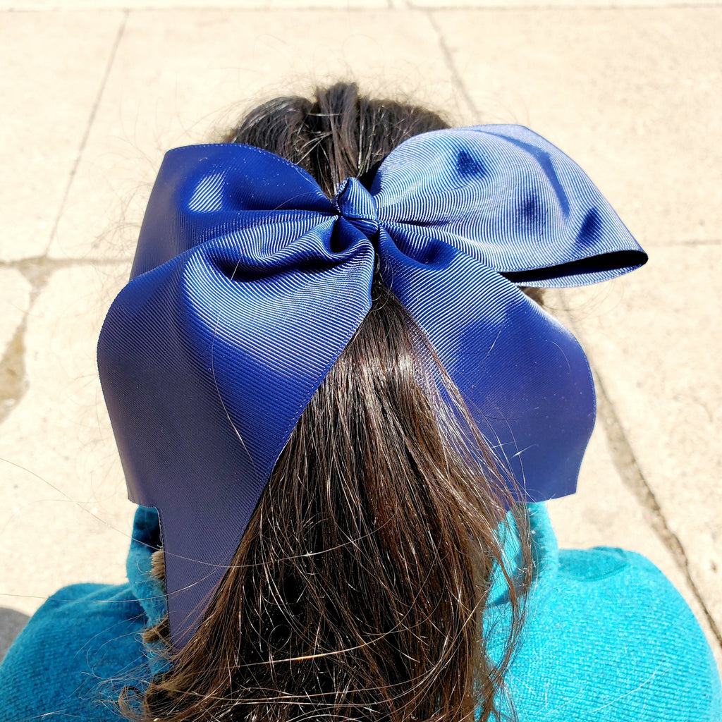 Cheer Navy Bow for Girls 7""